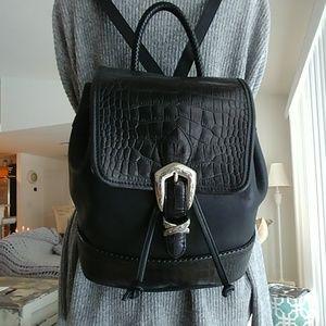 Brighton Black Croc & Leather Backpack bag